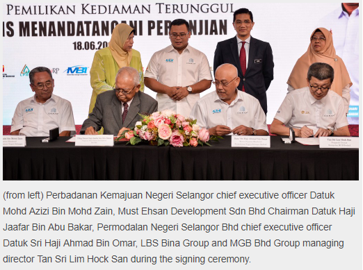PCSB-MGB Signs pact with Must Ehsan Development for 'Rumah Idaman'
